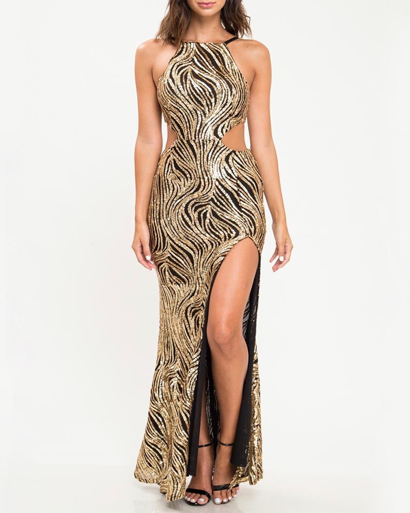 abstract sequin maxi dress with thigh high slit - black/gold