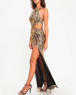 Abstract Sequin Maxi Dress with Thigh High Slit in Black/Gold