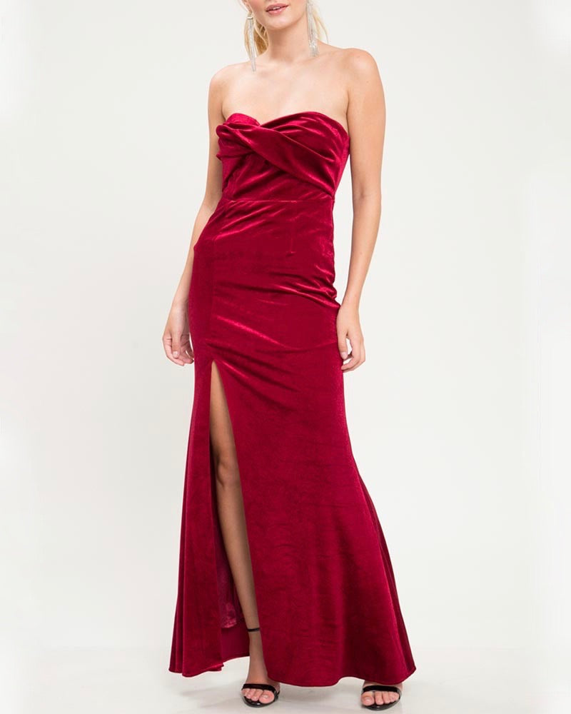 Twist Front Strapless Velvet Maxi Dress with Thigh High Slit in Burgundy