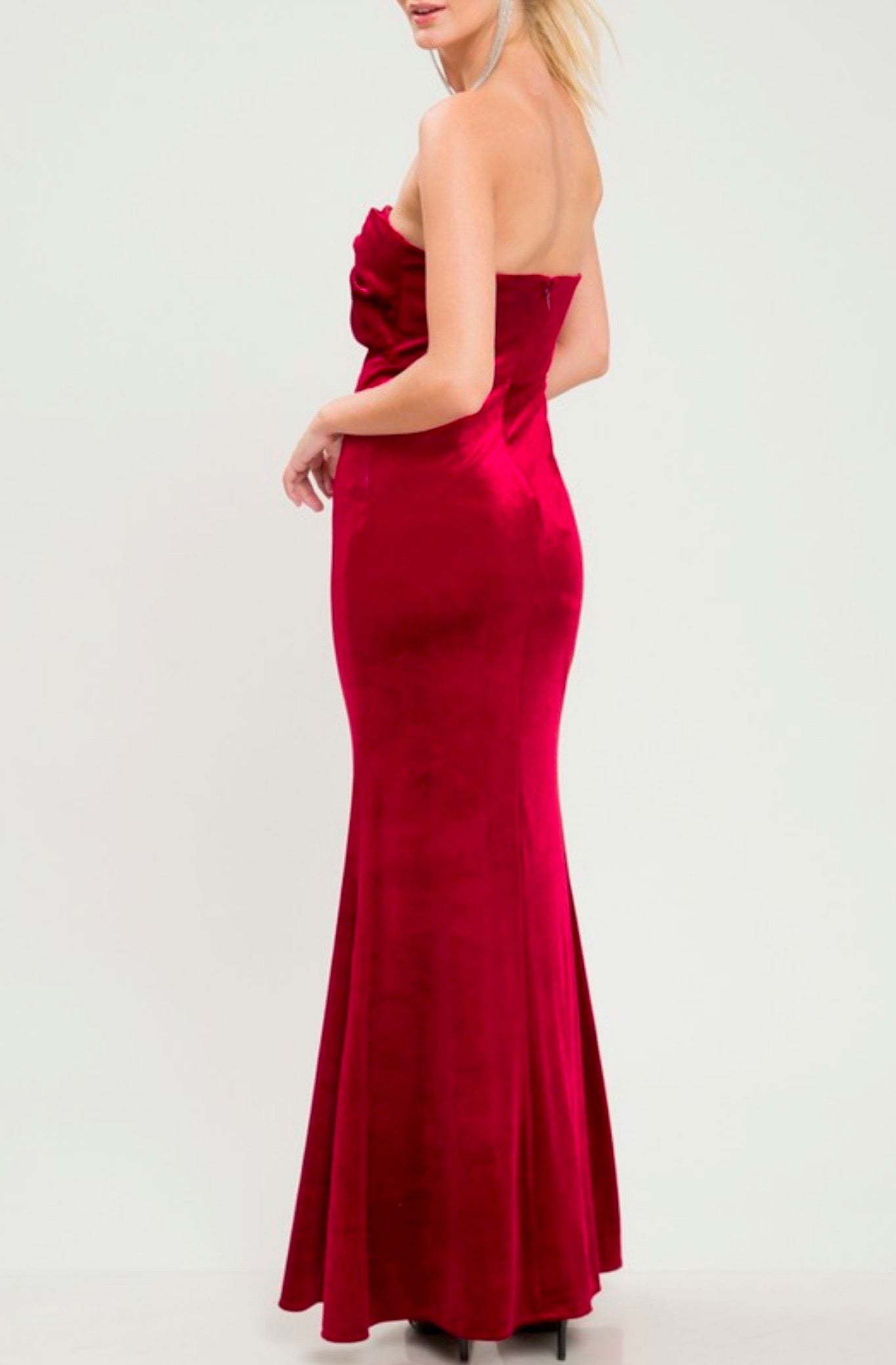 7b165da3db8e twist front strapless velvet maxi dress with thigh high slit - burgundy