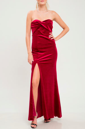 twist front strapless velvet maxi dress with thigh high slit - burgundy