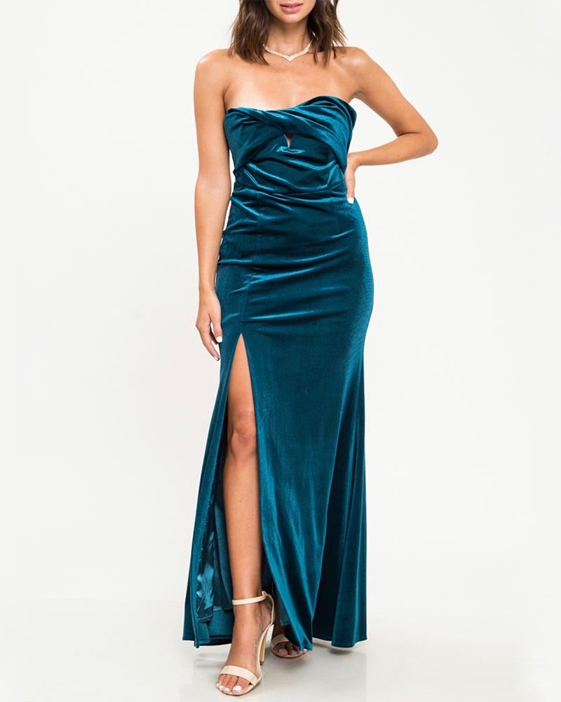 Twist Front Strapless Velvet Maxi Dress with Thigh High Slit in Teal