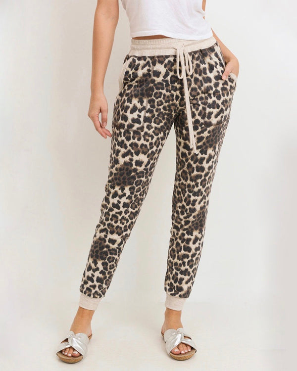 Leopard Print Joggers With Elasticized Drawstring Waist