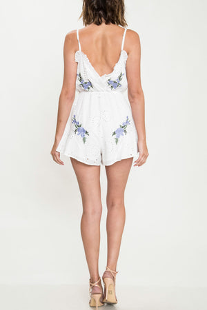 Floral Applique & Eyelet Romper - White