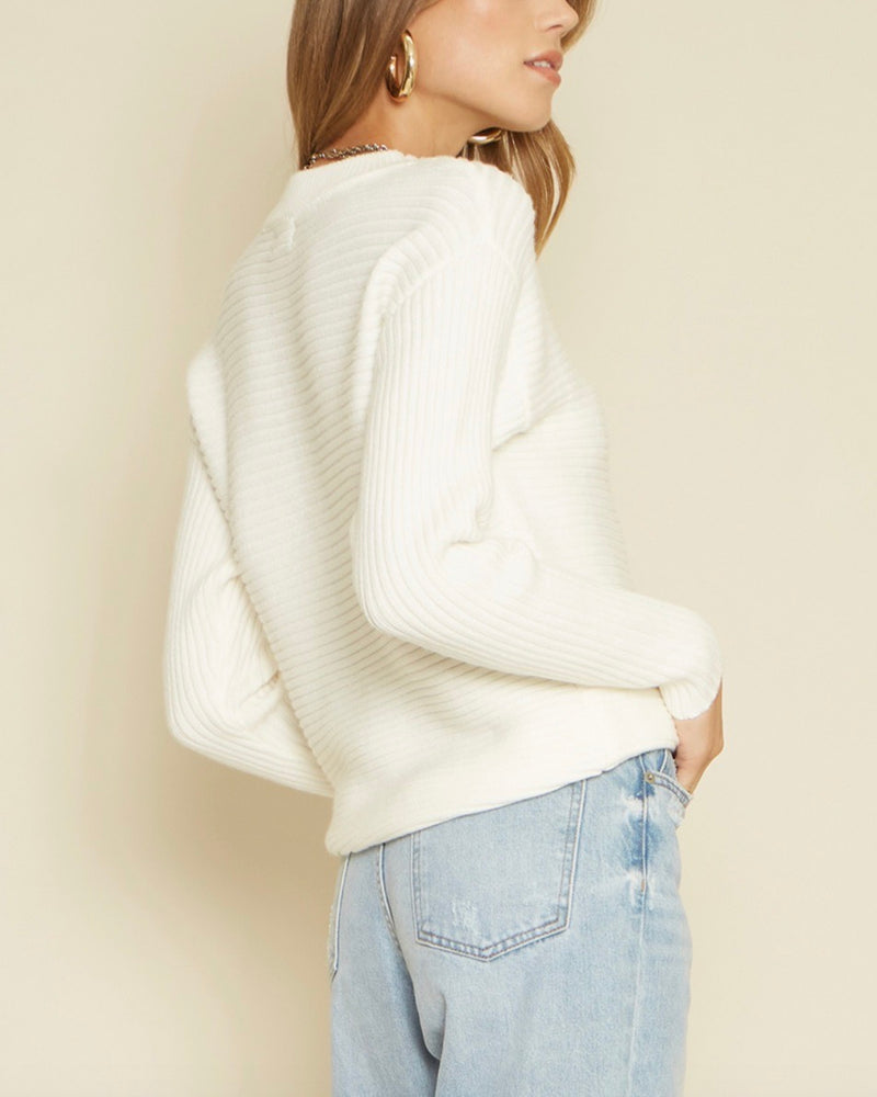 Lisa Long Sleeve Shoulder Cut Out Knit Sweater in White