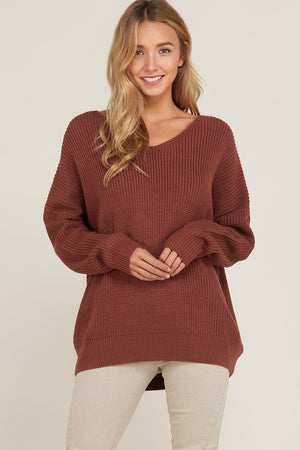 Long Sleeve Lace Up Back Slouchy Sweater in Brick