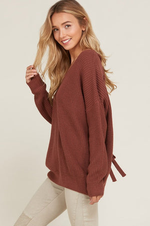 long sleeve lace up back slouchy sweater - brick