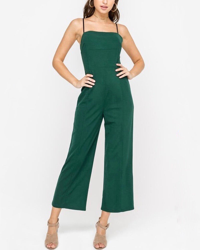 LUSH - Wide Leg Slightly Cropped Jumpsuit in Forest Green