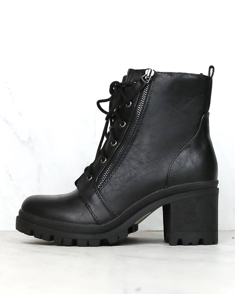 Lace-Up Chunky Heel Combat Boots - Black