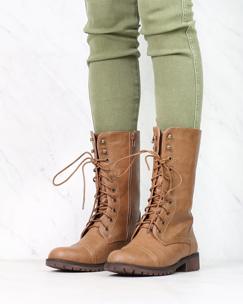 Lace Up Combat Boots in Tan