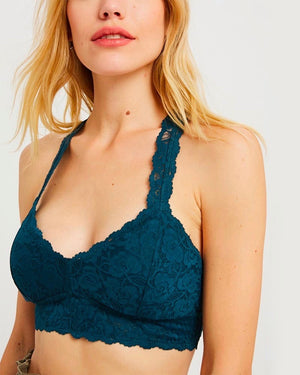 Lace Padded Racerback Bralette in Teal