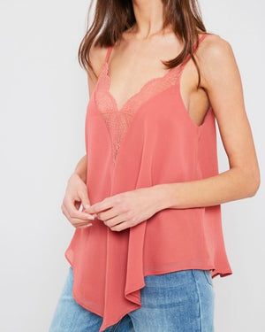 Lace Trimmed Lined Cami Tank Top in Ginger