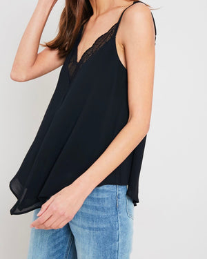 Lace Trimmed Lined Cami Tank Top in Black