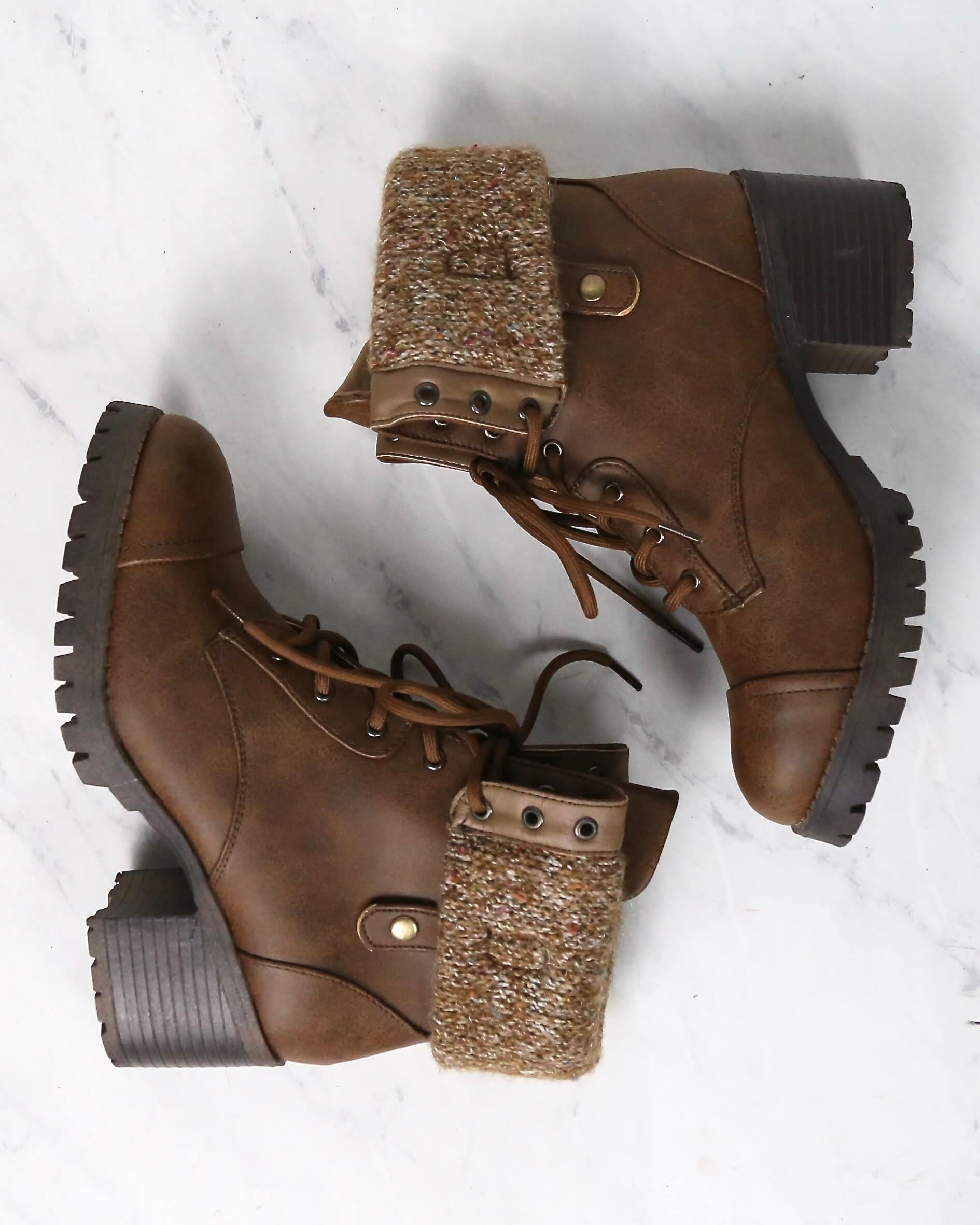 Lace Up Fold-Over Sweater Cuff Boots