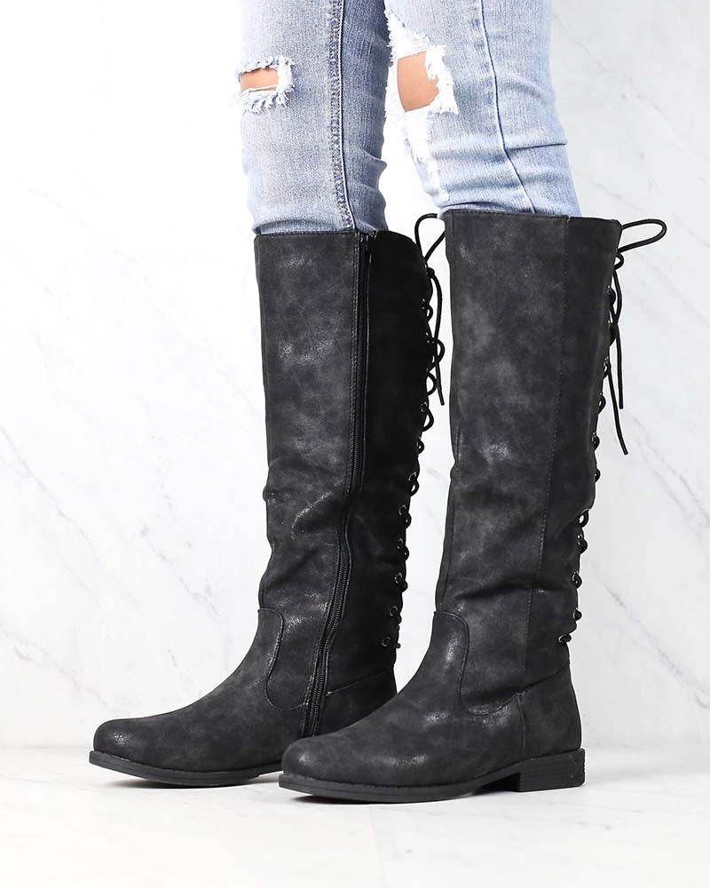 Laced Up Weathered Riding Boots in Black