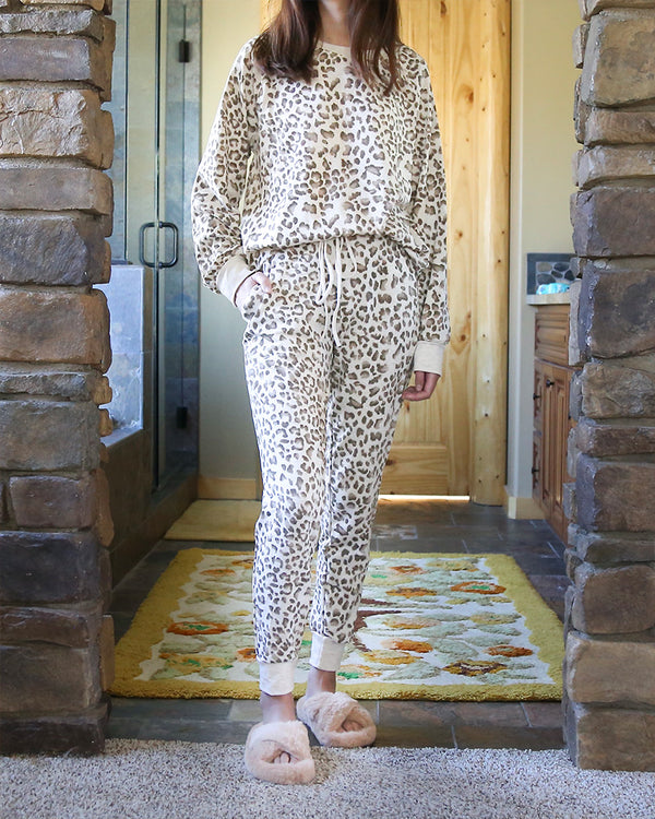 Leopard French Terry Lounge Wear Top and Bottoms Separate in Taupe