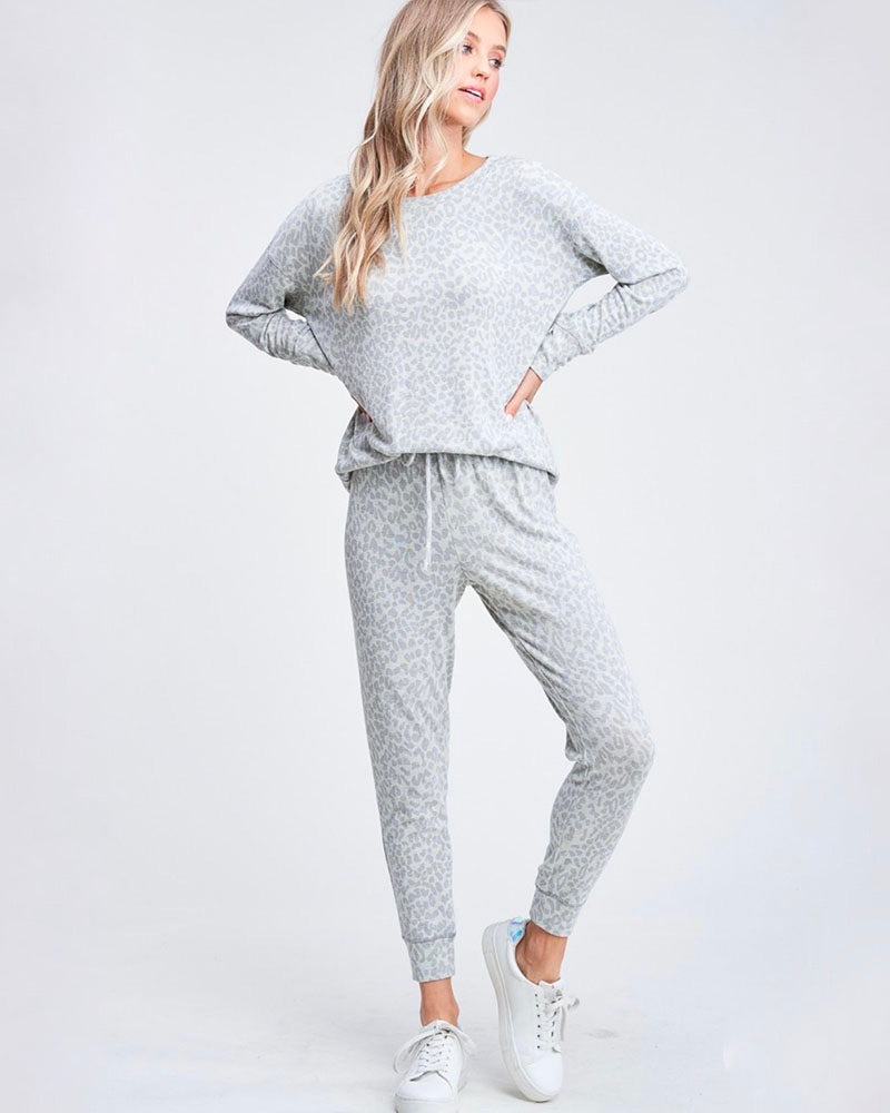 Leopard Lounge Wear Set - Heather Grey