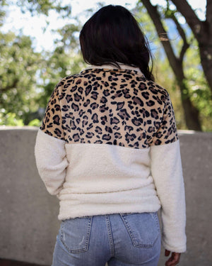 Leopard Half Zip Faux Sherpa Fleece Teddy Pullover Top in Beige