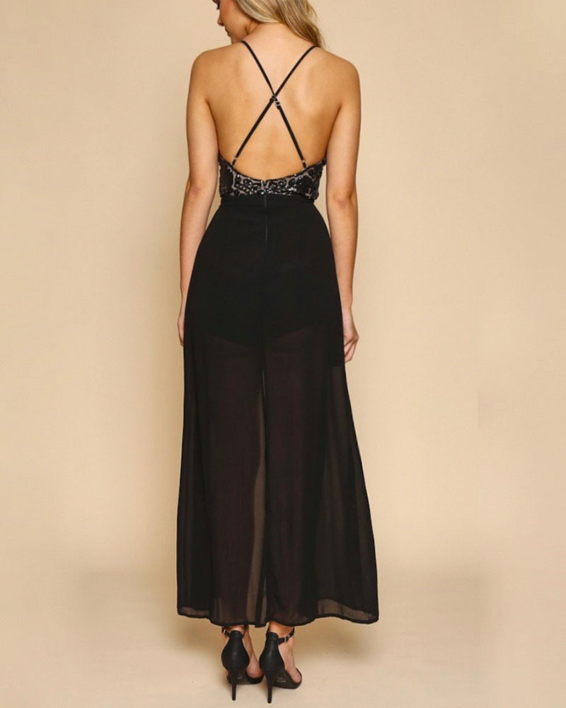 Life Of The Party Sequin Maxi Romper in Black