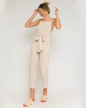 Linen Blend Waist Tie Jumpsuit in Natural