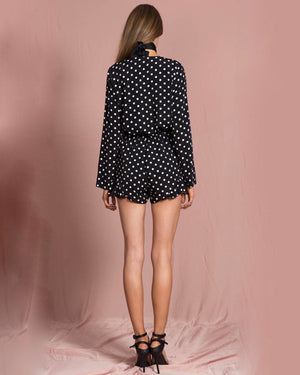 Lioness Black With Envy Ruffle Hem Polka Dot Romper