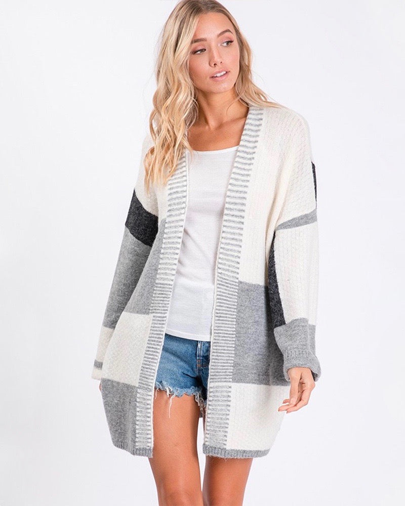 Long-Line Open-Front Greyscale Color Block Cardigan