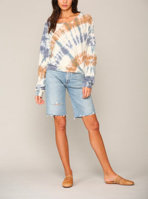Long Sleeve Knit Poly Cotton Jersey Tie Dye Top in Khaki/Lavender