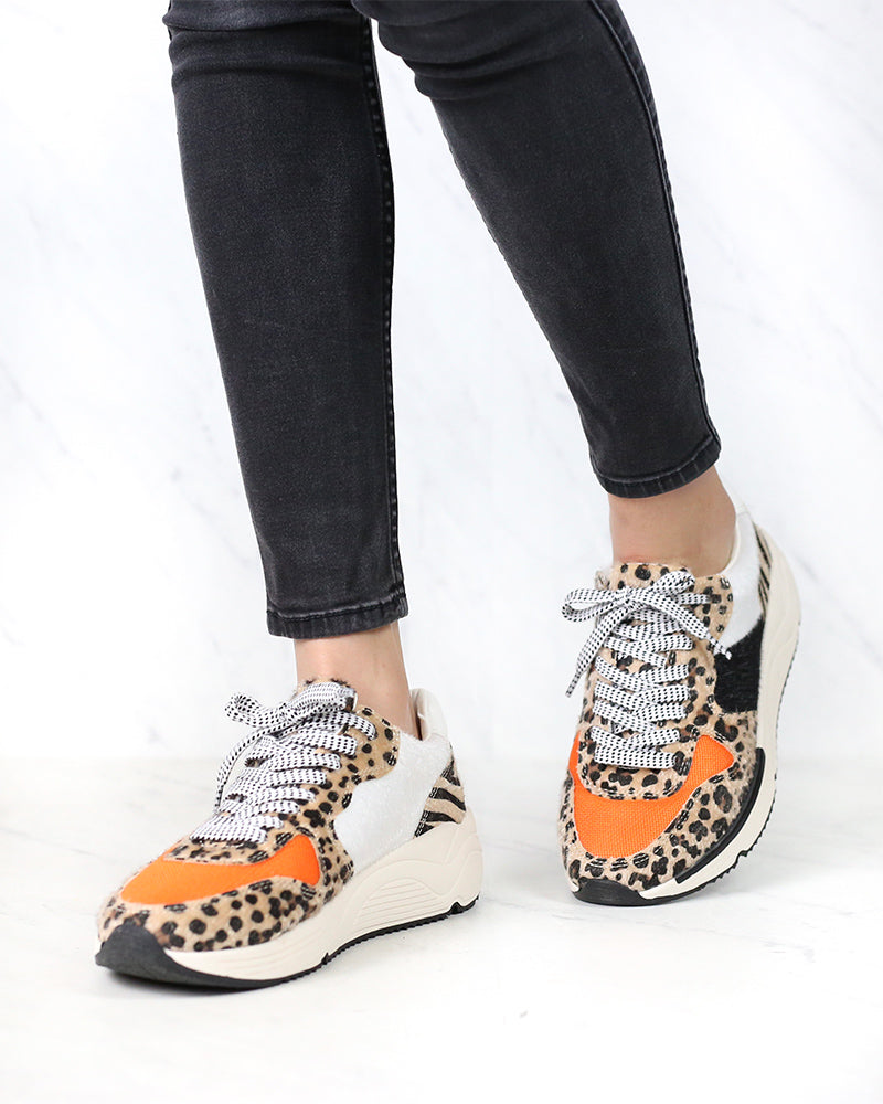 Loyal Leopard Print Platform Sneakers in Orange Leopard