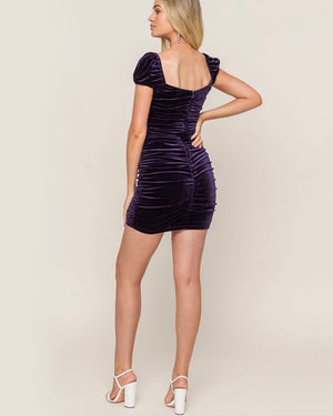 Lush Clothing - Velvet Ruched Square Neck Bodycon Dress in Raisin