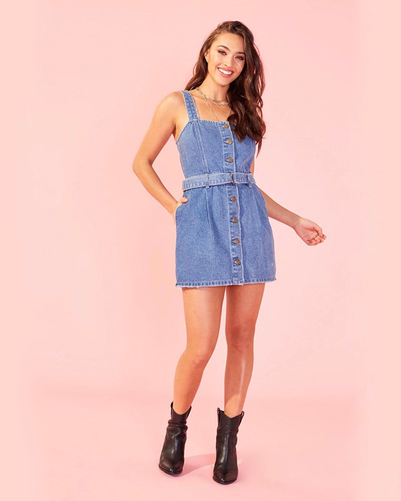 Final Sale - MINKPINK - Andy Button Front Denim Dress in Mid Vintage Blue