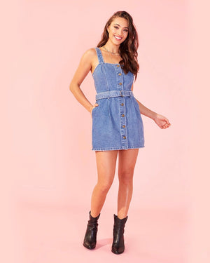 MINKPINK - Andy Button Front Denim Dress in Mid Vintage Blue