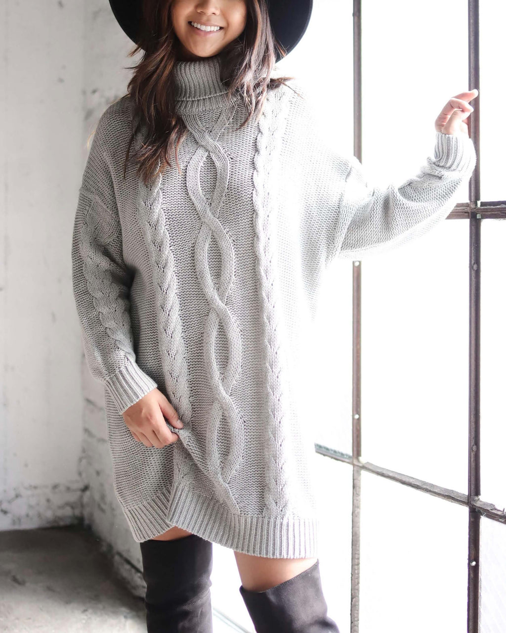 MINKPINK - Janine Cable Knit Jumper Dress - Grey Marle
