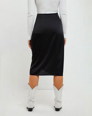 MINKPINK - Last Song Drawstring Satin Midi Skirt in Black
