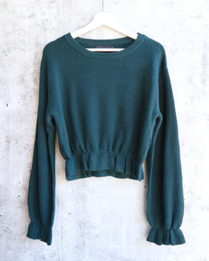 MINKPINK - Maddie Frilly Hem Knit Cropped Sweater - Emerald