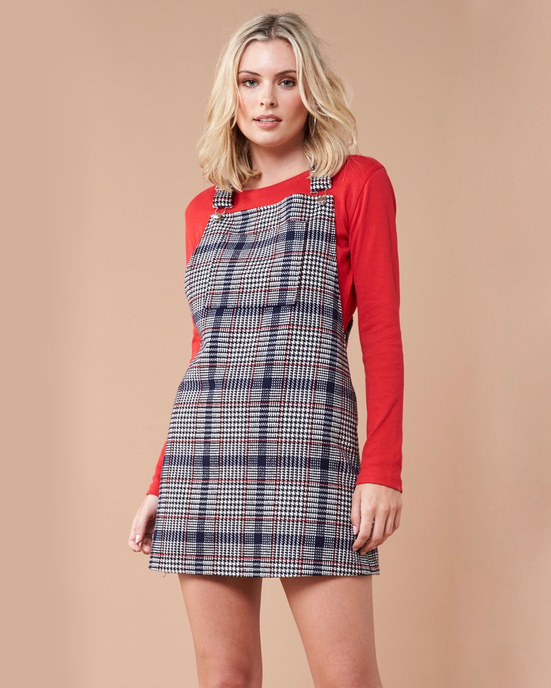 MINKPINK - New School Plaid Pinnie Dress in Grey
