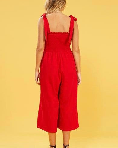 MINKPINK - Smocked Jumpsuit With Ties in Black