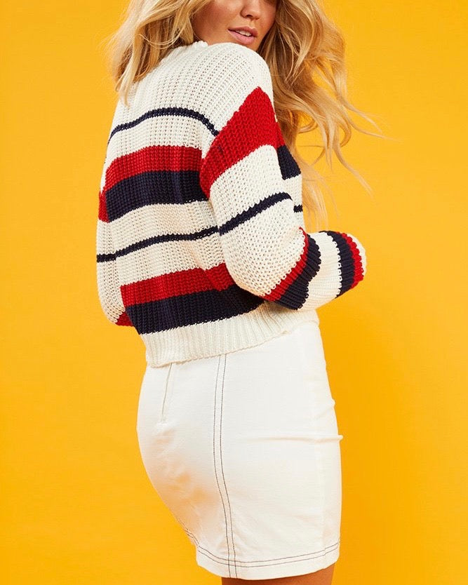 MINKPINK Stripe Knit Sweater in Multi