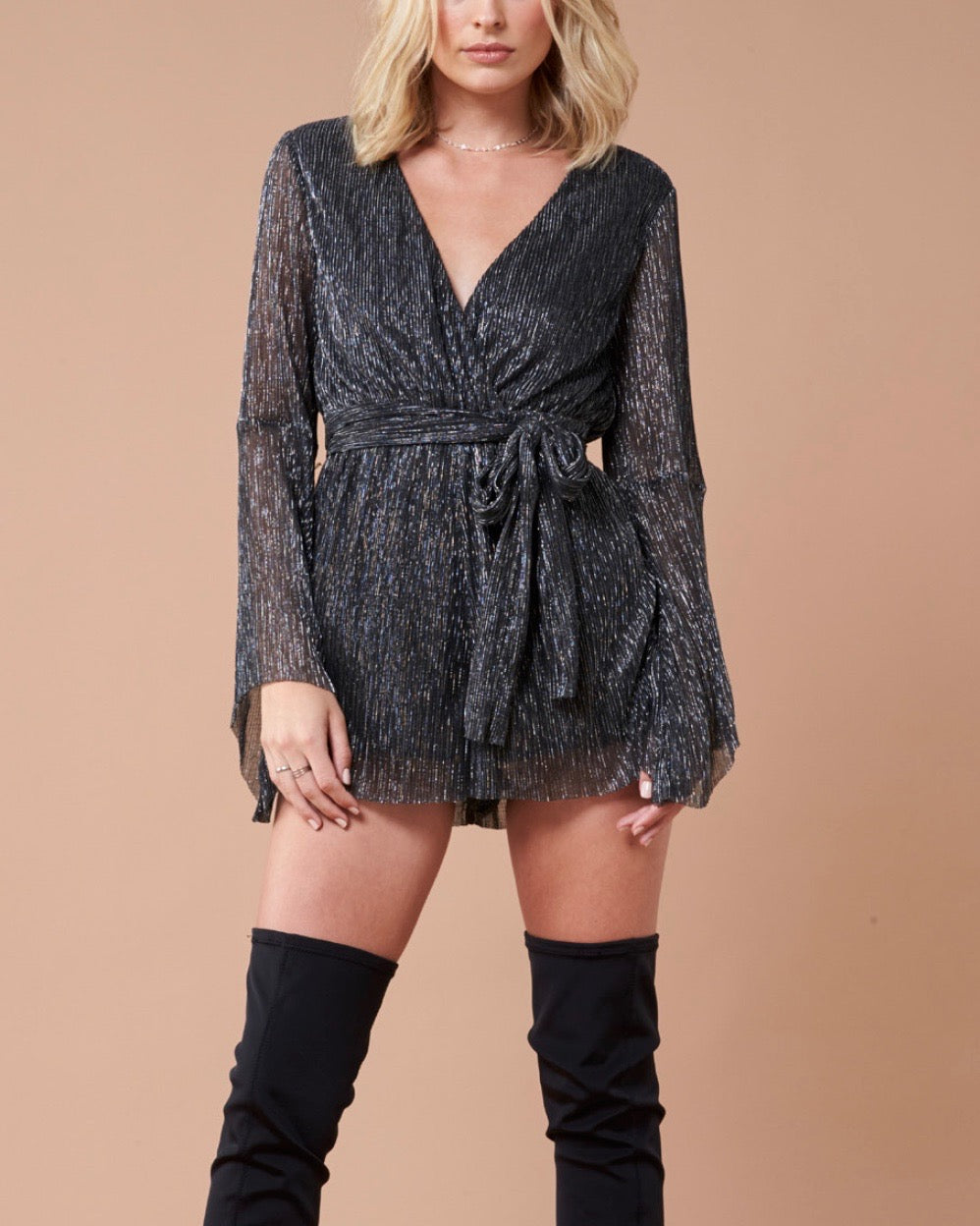 Final Sale - MINKPINK - Women's Glistening Pleat Playsuit - Black