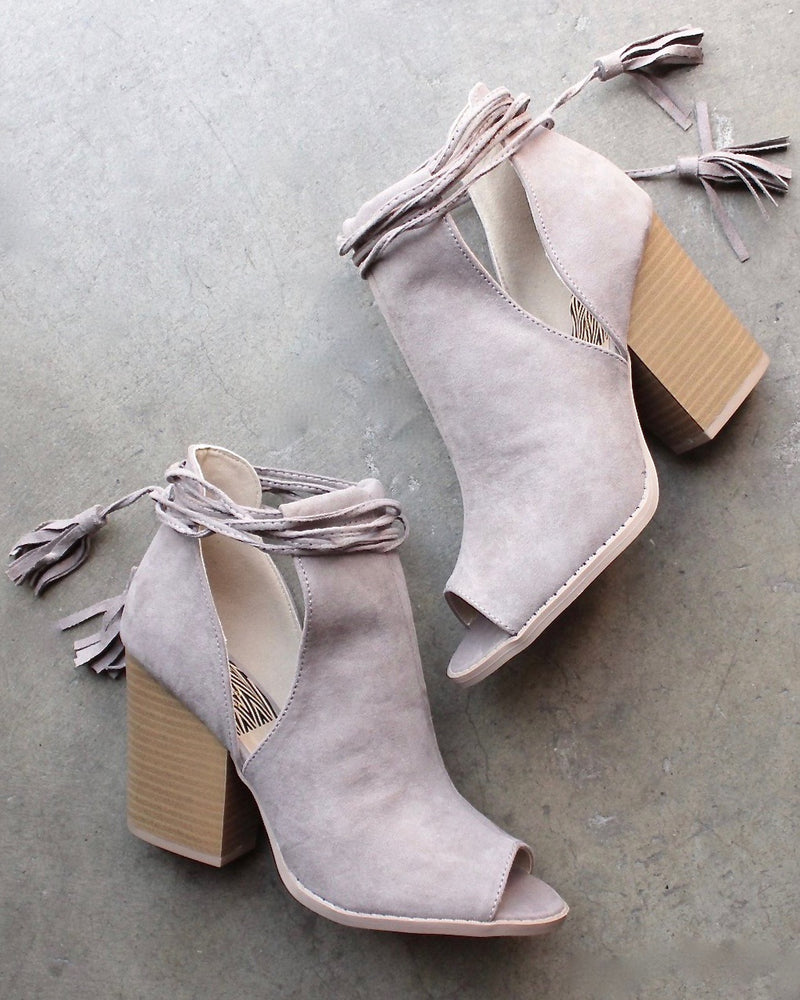 Final Sale - Madelynn Suede Open Toe Booties in Taupe