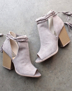 final sale - Madelynn suede open toe bootie - taupe