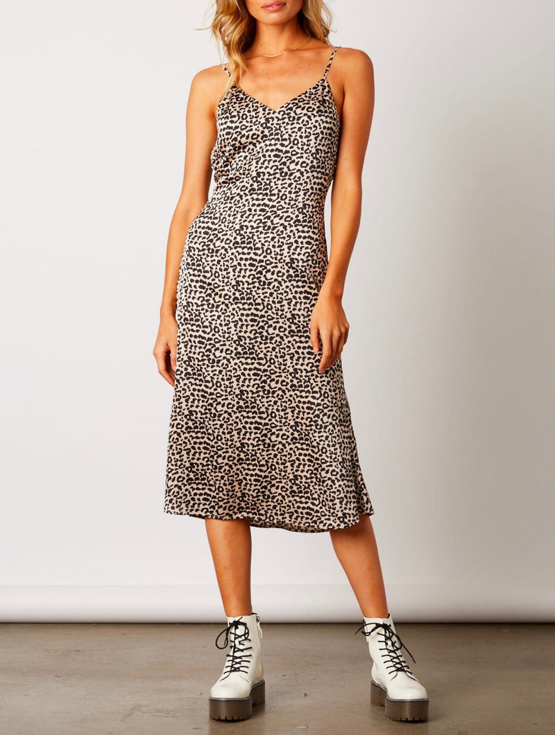 Midi Dress with Strappy Low Cut Back - Bone/Leopard