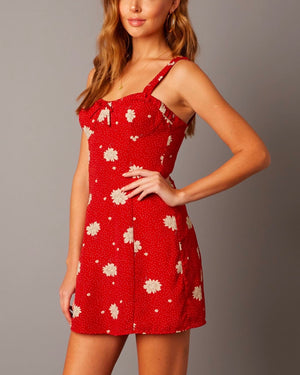 bustier inspired bodice floral mini dress - sienna red