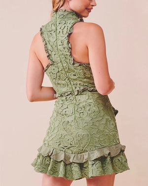 Mock Neck Lace Tiered Ruffle Sleeveless Dress in Olive