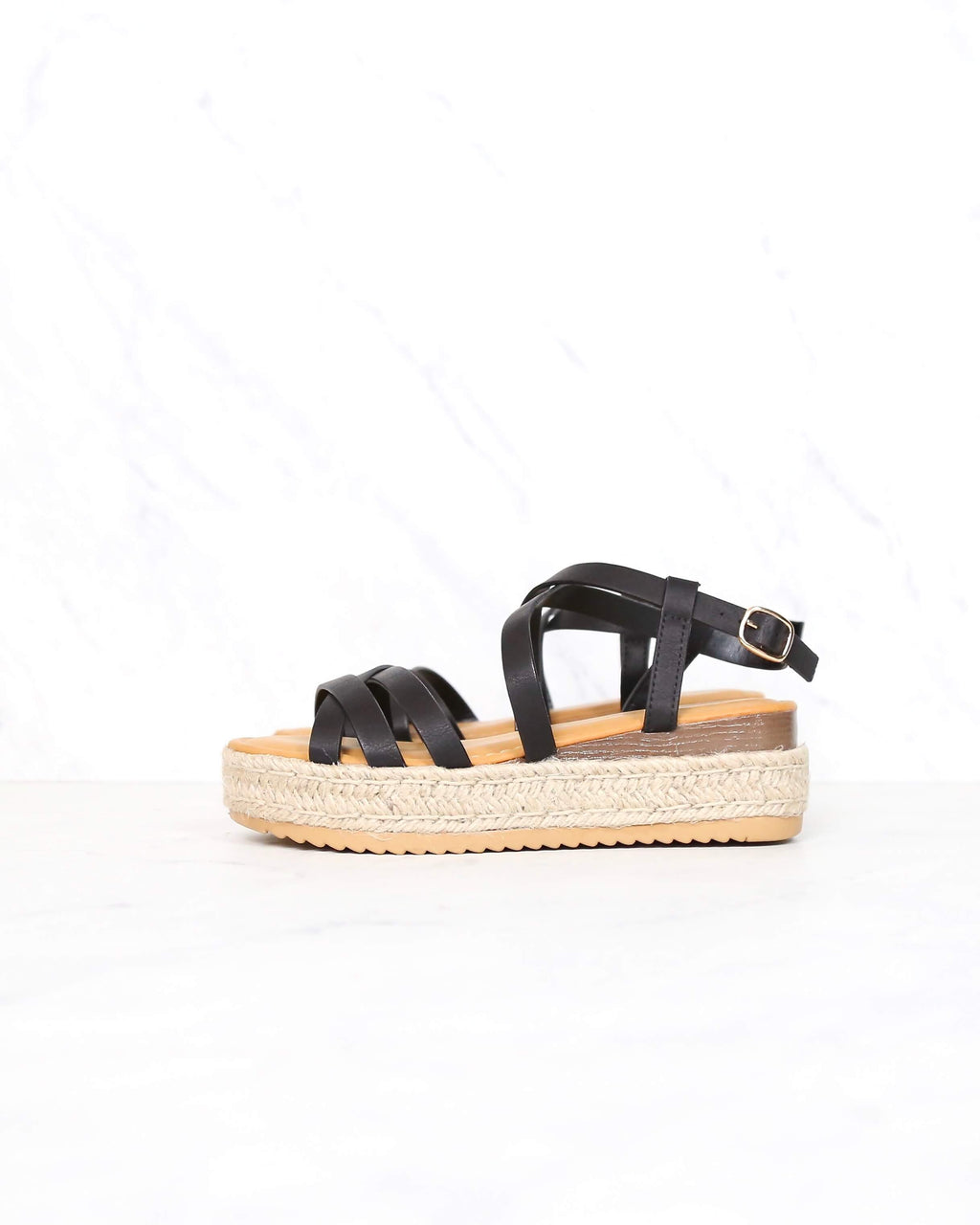 Multi Bands Crossed-Strap Espadrille Platform Sandal with Ankle Strap in Black