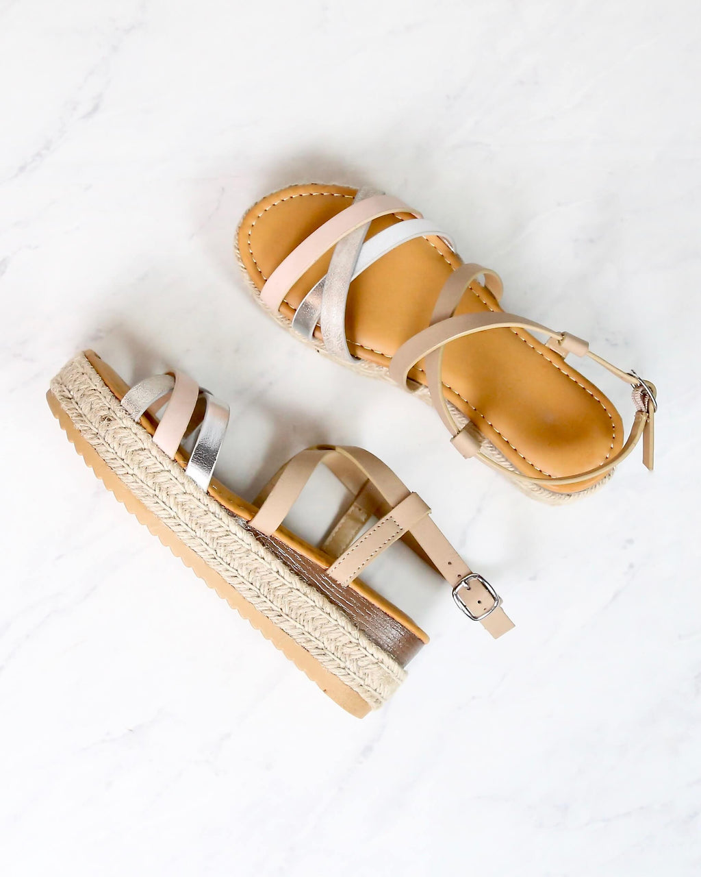 Multi Bands Crossed-Strap Espadrille Platform Sandal with Ankle Strap in Blush Multi