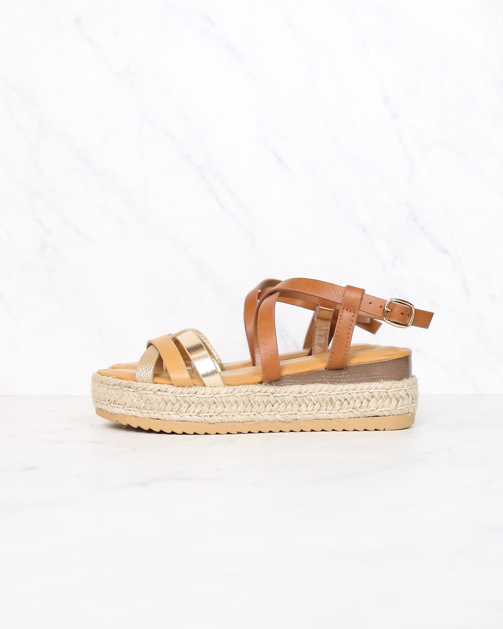 Multi Bands Crossed-Strap Espadrille Platform Sandal with Ankle Strap in Natural Multi