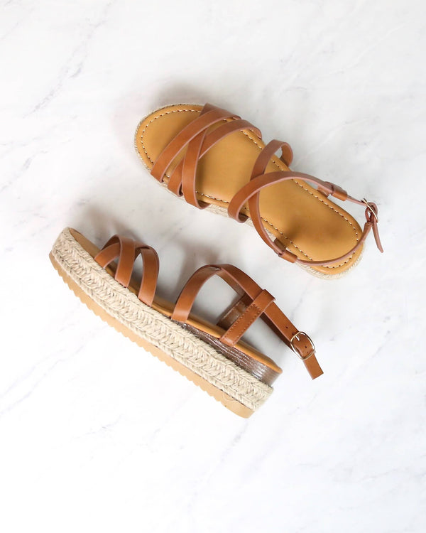 Multi Bands Crossed-Strap Espadrille Platform Sandal with Ankle Strap in Tan motivate-04 tan