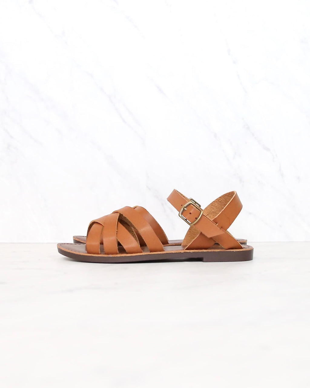 Multi Strapped Flat Gladiator Sandal in Tan