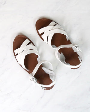 Multi Strapped Flat Gladiator Sandal in White