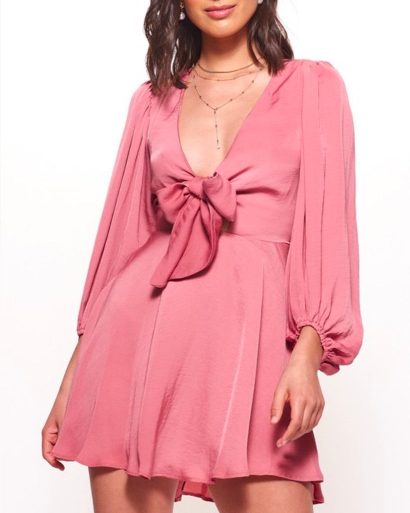 satin tie front mini dress with puffy sleeves in rose